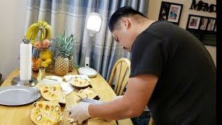 Bổ mít và cách xử lý nhựa mít dính vào dao ( Người Việt ở Mỹ)