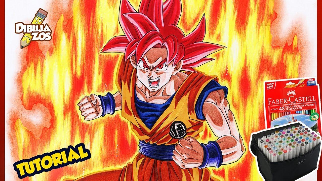 Goku Super Sayayin Dios Azul Para Colorear: COMO DIBUJAR A GOKU SSJ DIOS ROJO