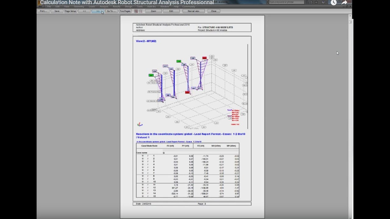 Calculation Note with Autodesk Robot Structural Analysis Professionnal