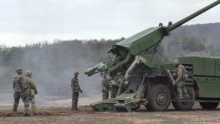 Danish troops firing  CAESAR  8x8 self-propelled artillery system