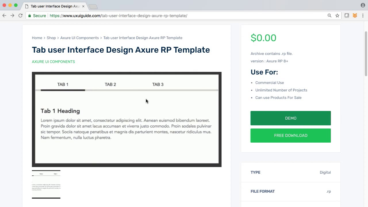 Tab User Interface Axure Rp Template Ux Ui Guide Youtube
