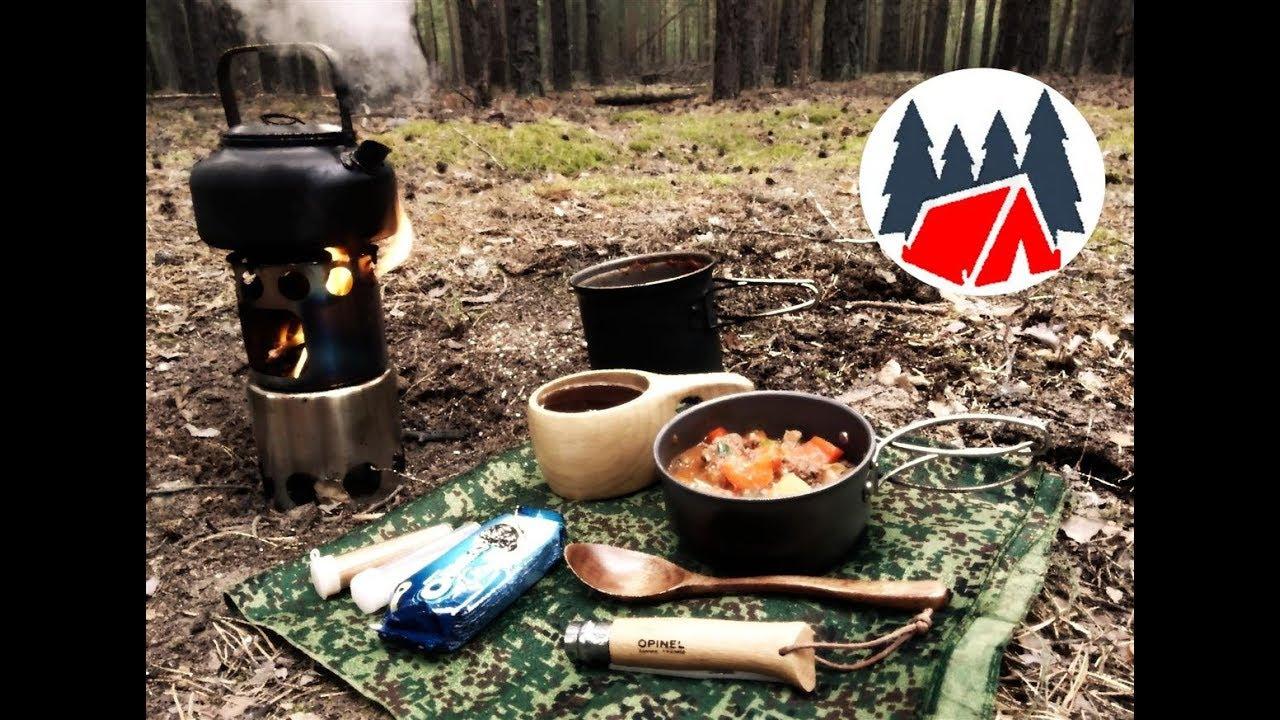 Одиночный поход в лес. Полевая кухня. Готовка рагу на печке щепочнице.
