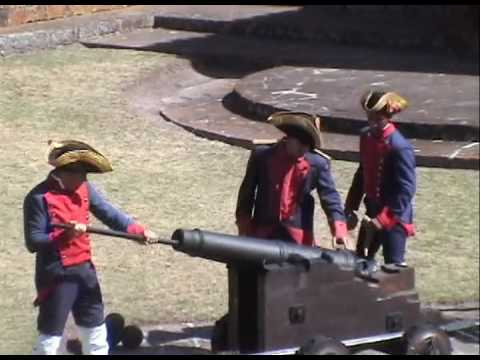 Cannon being fired at Fortin San Miguel, Rocha, Uruguay