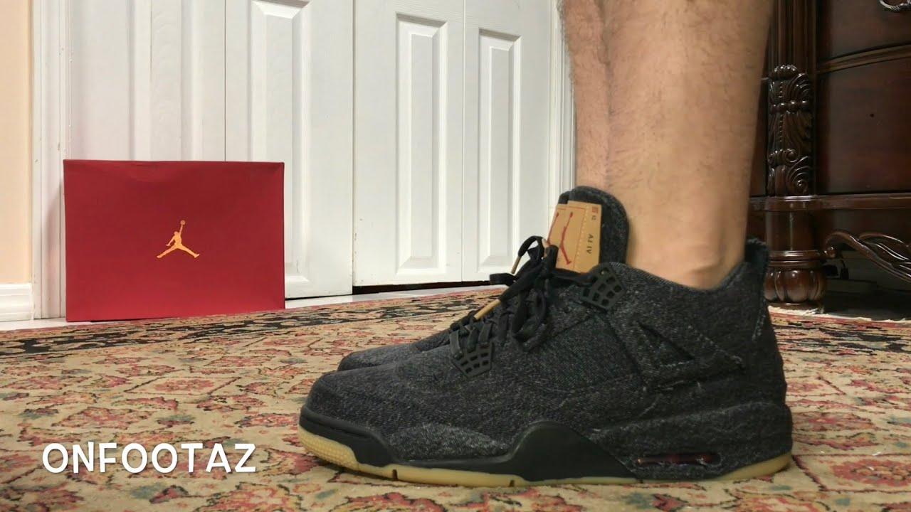 b4e73f1fd195bd Air Jordan 4 IV Levi s Black Denim On Foot - YouTube