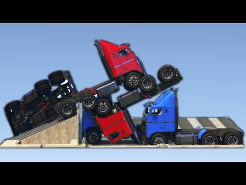 INSANE TRUCK JENGA DERBY! (GTA 5 Funny Moments)