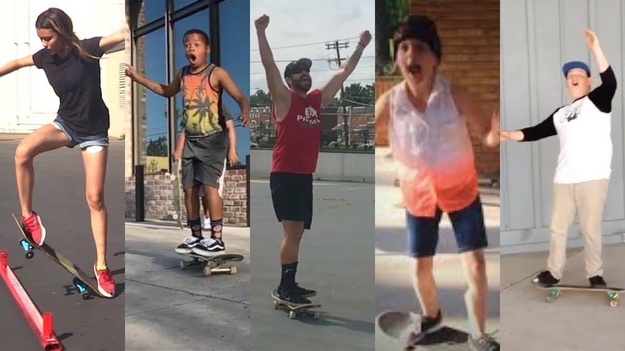 Download People Land Skateboard Tricks for The FIRST TIME! (Ollie, Kickflip, Heelflip, Varial Flip, Tre Flip)