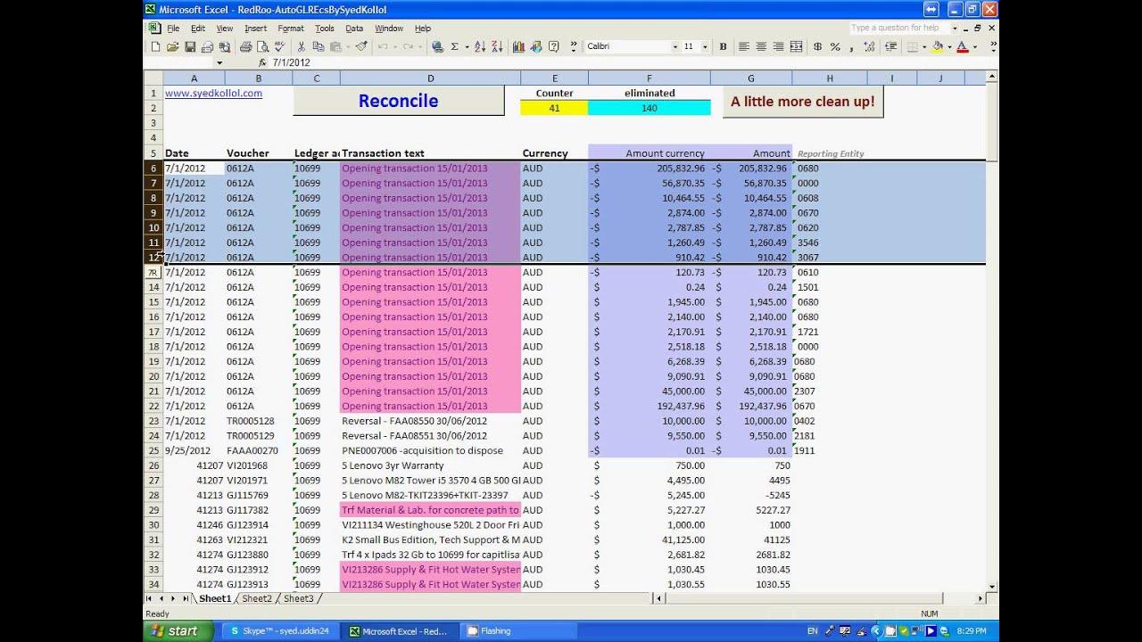 Auto Gl Reconciliation Using Excel Vba Pt 01