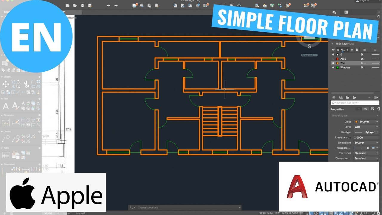How to draw a simple Floor Plan in AutoCAD | Macintosh ...