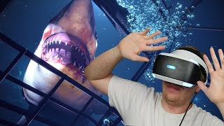 TERRIFYING SHARK IN VIRTUAL REALITY! - PlayStation VR Worlds | Ocean Descent (Funny Moments)