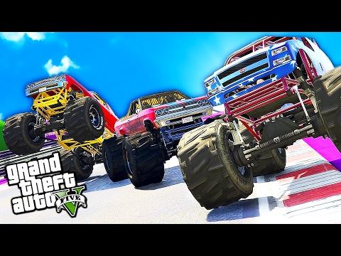 GTA 5 ROCKETS & BOOST GLITCH - GTA 5 MONSTER TRUCK BANGERS RACE!!! (GTA 5 Funny Moments & FAILS)