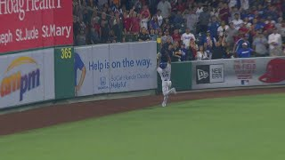 LAD@LAA: Puig makes a terrific leaping catch in right