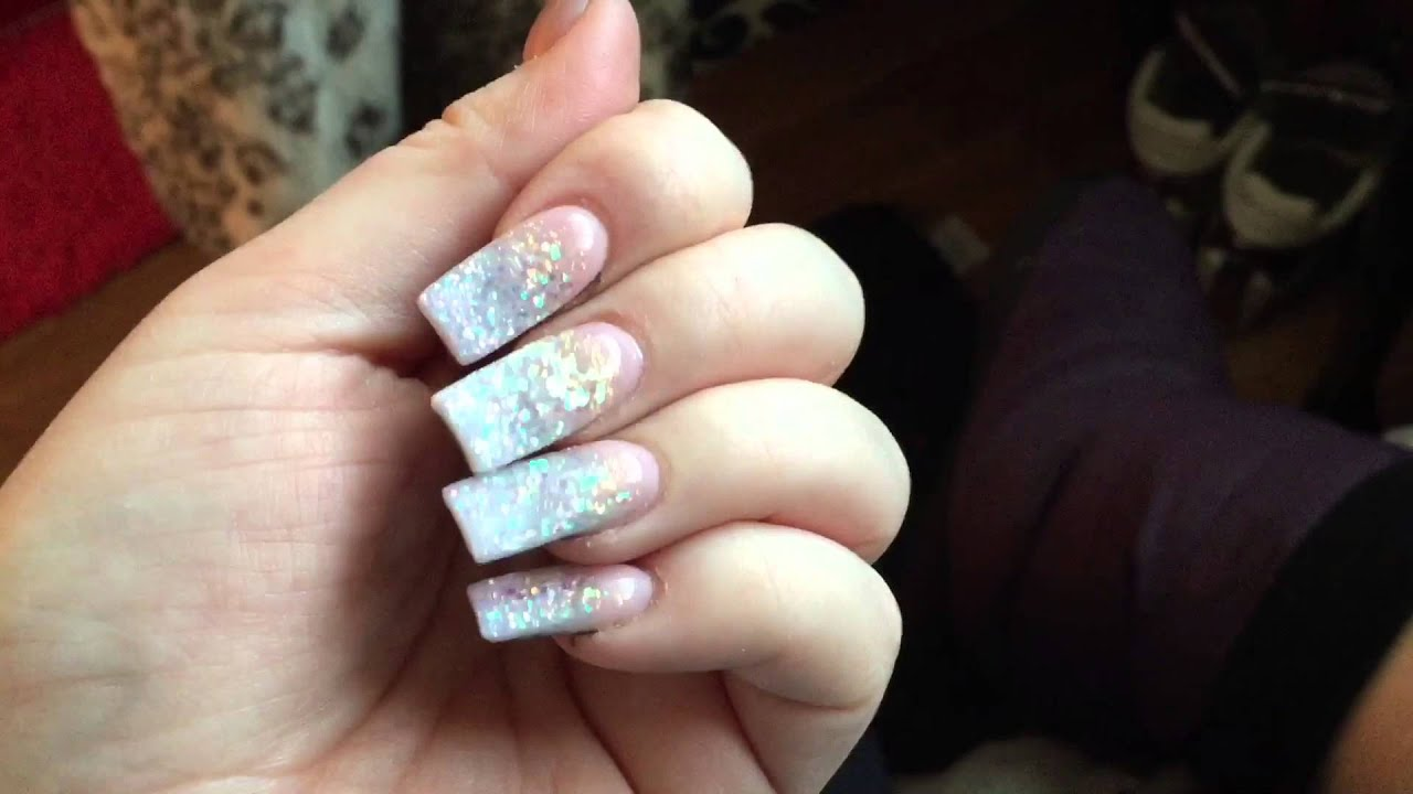 Nails of the Month - Glitter Ombré French with Red Bottoms - YouTube
