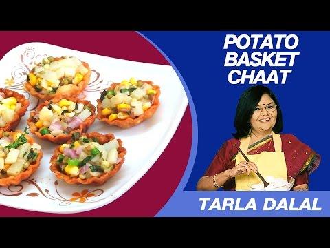 Potato Basket (Aloo Tokri) Chaat Recipe by Tarla Dalal   Indian Chaat
