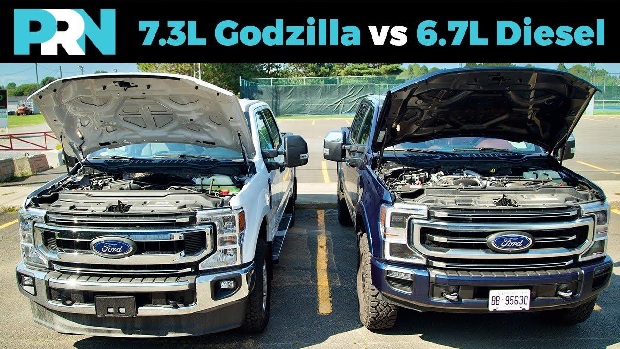7 3l Godzilla Gas V8 Vs 6 7l Power Stroke Diesel V8 Ford Super Duty Pickup Engines Youtube