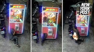 Flexible thief climbs into claw machine crane game for stuffed prize | New York Post