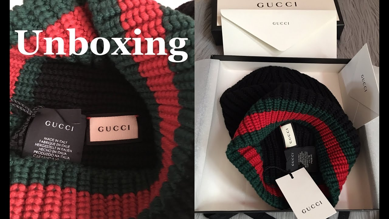 7236a68e053 GUCCI wool hat with web UNBOXING