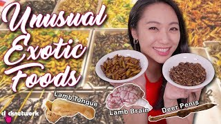Unusual Exotic Foods (Deer Penis, Lamb Brain, Fried Insects and more!) - Tried and Tested: EP162