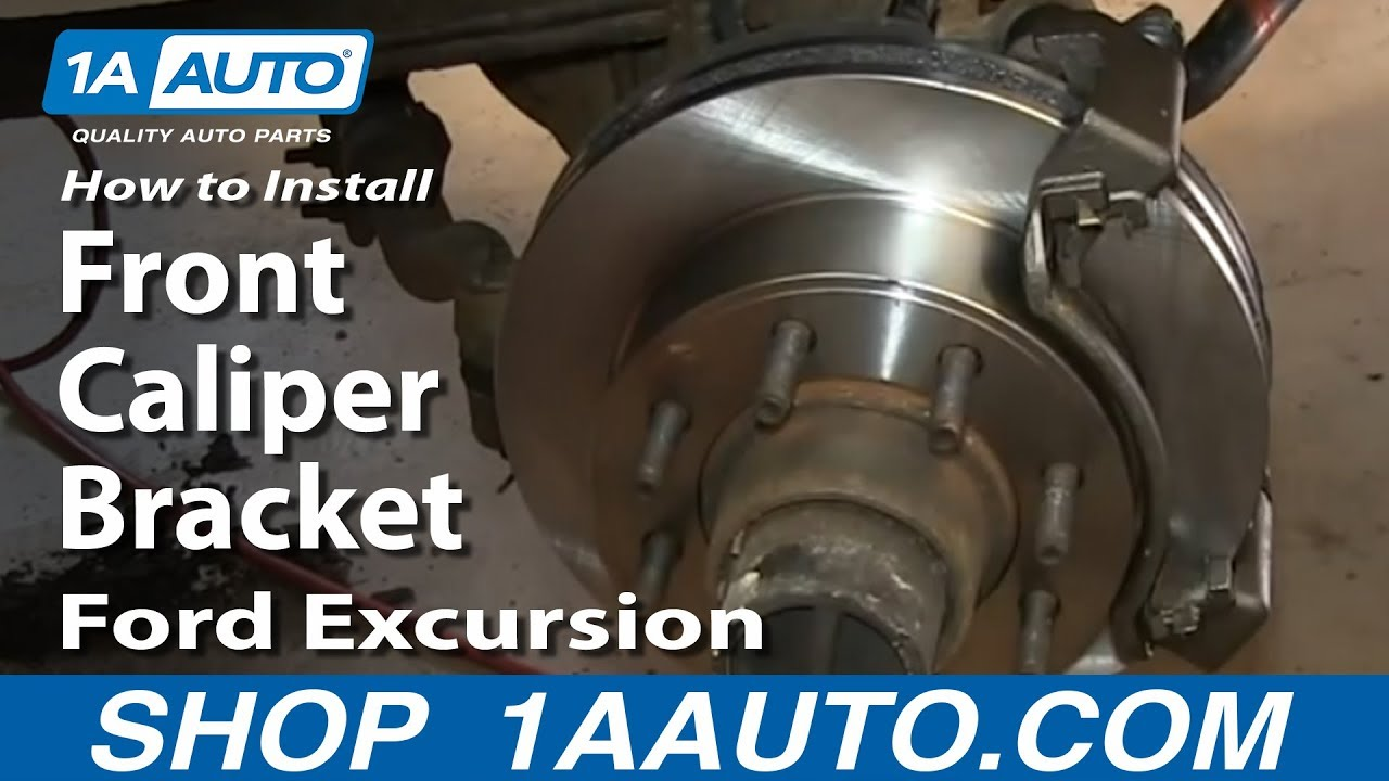 how to install replace sticking rusty front caliper bracket ford excursion f250 super duty [ 1280 x 720 Pixel ]