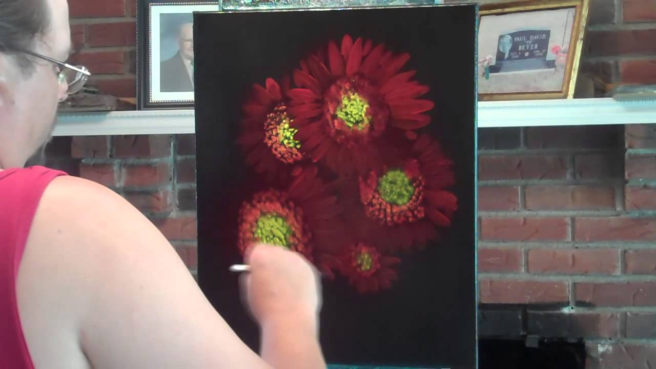 sunny flowers floral speed painting on black canvas