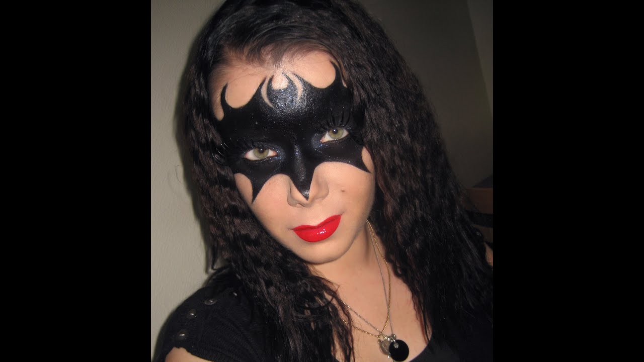 Halloween series : Batman vs Catwoman mask makeup tutorial - YouTube