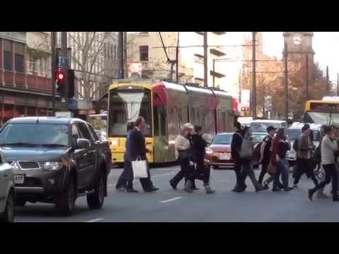 King William Street Adelaide Tram Bus People Bikes June 2015 Video