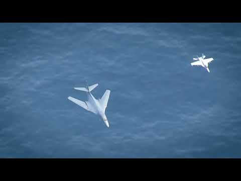 Supersonic B-1 Bomber Flyover of 3 Nimitz Class Aircraft Carriers