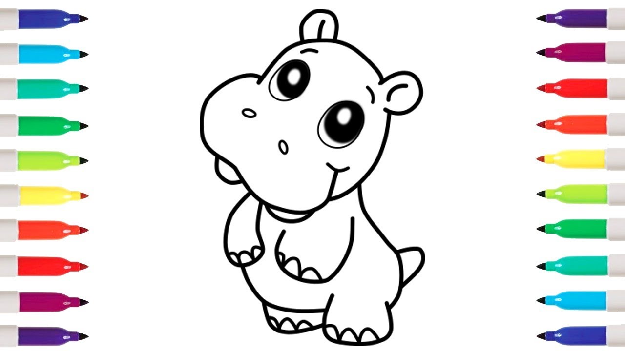 how to draw cute hippopotamus coloring pages drawing