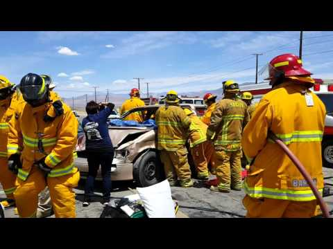 Trona Fire Dept demonstration at Trona high school