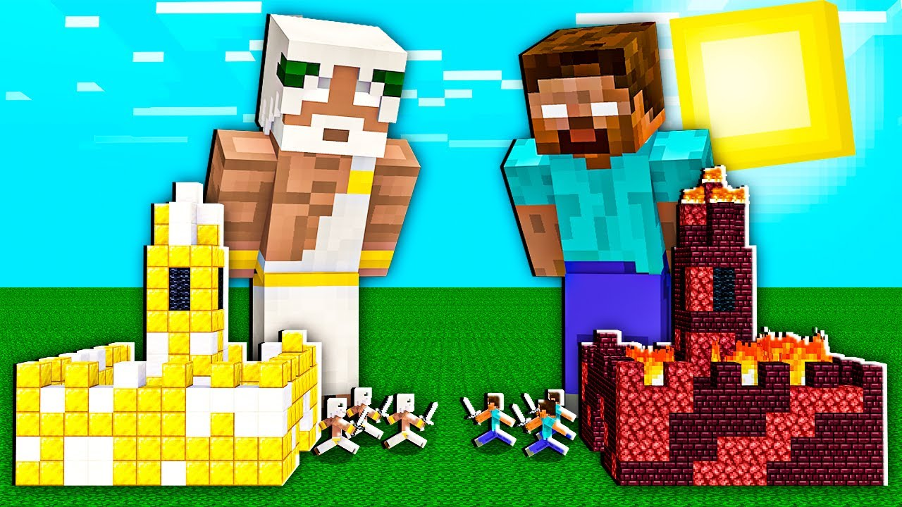 Minecraft NOOB vs PRO: BATTLE ONE BLOCK INSIDE CASTLE GOD VS HEROBRINE IN VILLAGE! 100% TROLLING
