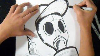 рисунок противогаз граффити