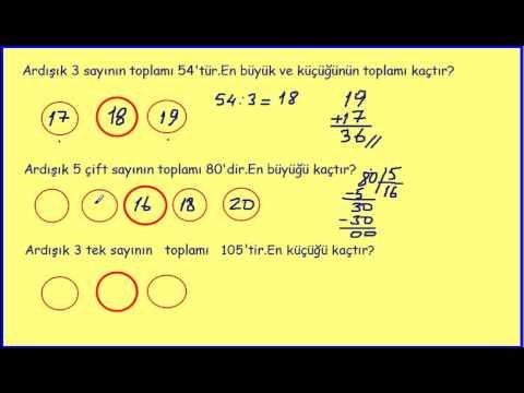 2015 Yeni 4. Sınıf Matematik Ardışık Sayı Problemleri