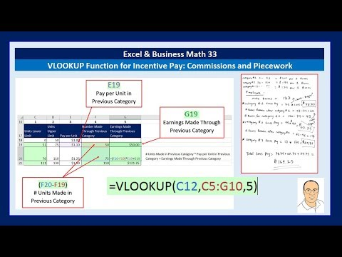 Excel & Business Math 33: VLOOKUP Function for Incentive Pay: Commissions & Piecework (15 Examples)