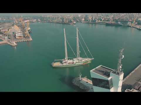 Greenpeace's Rainbow Warrior ship arrives in Burgas, Bulgaria