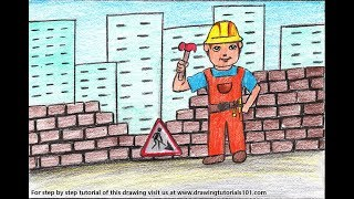How to Draw a Construction Worker Scene - Step by Step
