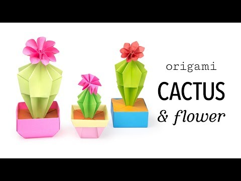 Origami Cactus & Flower Tutorial - DIY - Paper Kawaii