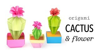 Origami Cactus & Flower Tutorial - DIY - Paper Kawaii