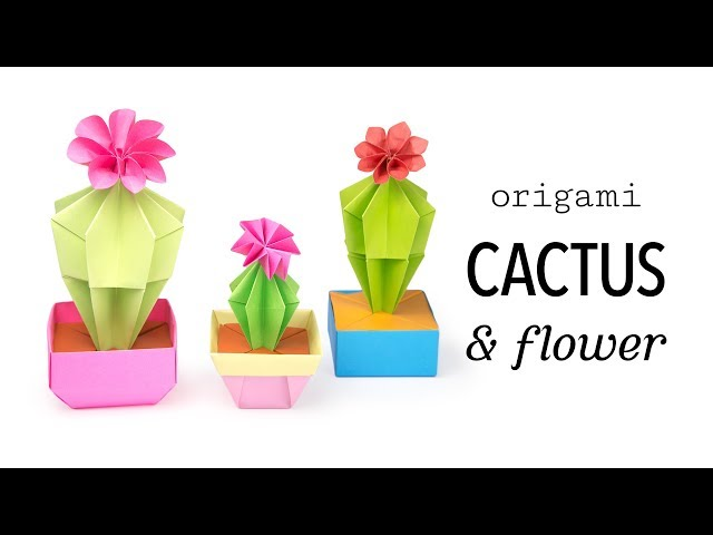 Origami Cactus Flower Tutorial DIY Paper Kawaii