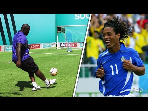 Akinfenwa attempts to recreate Ronaldinho's UNBELIEVABLE free-kick against England
