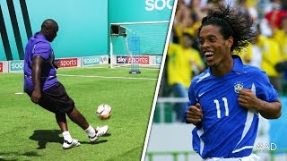 Akinfenwa attempts to recreate Ronaldinho's UNBELIEVABLE free-kick against England