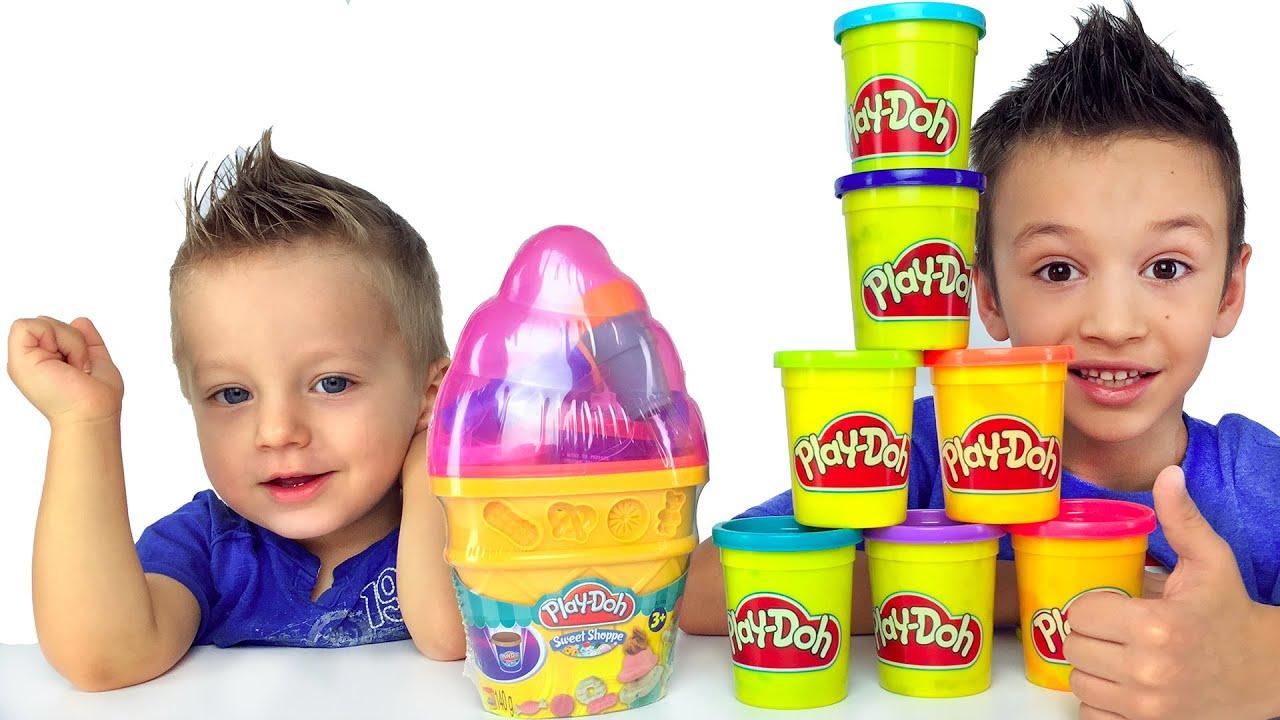 ИГРАЕМ В МАГАЗИН МОРОЖЕНОГО Огромное Мороженое из Play Doh Для детей Ice Cream Video for Children