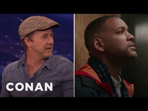 """Edward Norton & Will Smith Bonded Over """"Hamilton""""  - CONAN on TBS"""