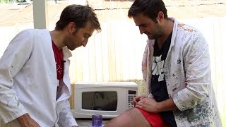 The Slow Mo Guys WAX THEIR LEGS In Slow Motion! | What's Trending Now