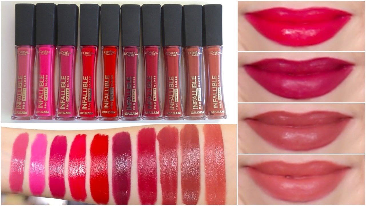 Loreal Paris Infallible Pro Matte Glosses Lip Swatches Review