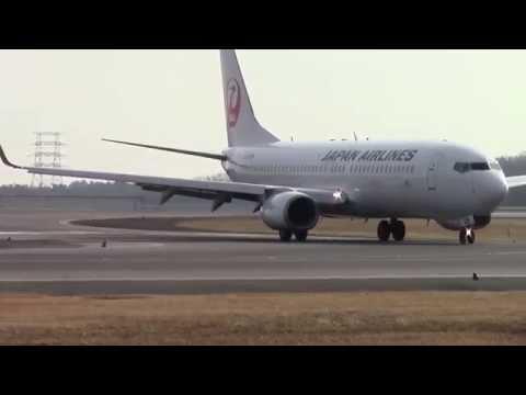 JAL JA328J 着陸  岡山空港  Okayama Airport 2015年1月