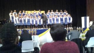Siyabonga Sindane conducting Rorobhani Senior Primary School singing INGODUSO by R.T Caluza