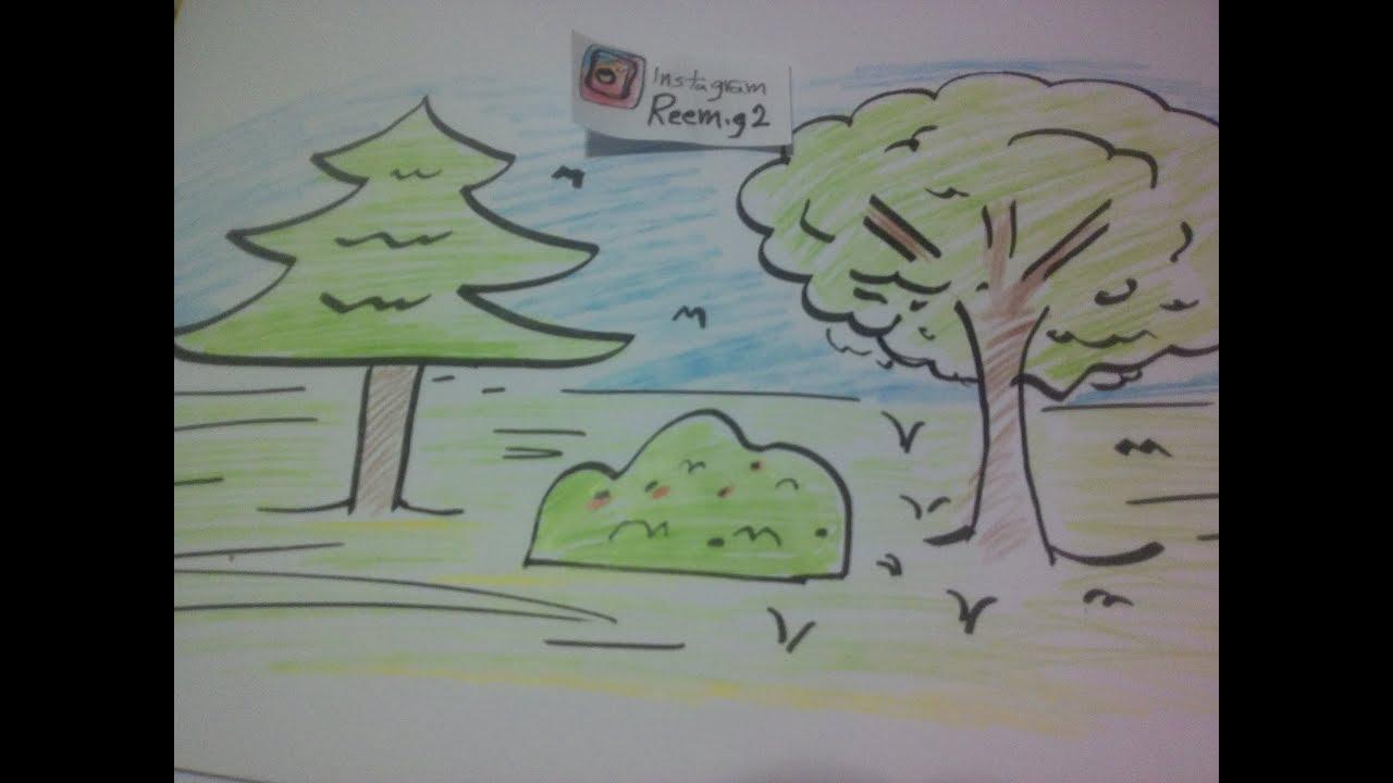 رسم شجرة بسهولة رسم منظر طبيعي رسم حديقة Youtube