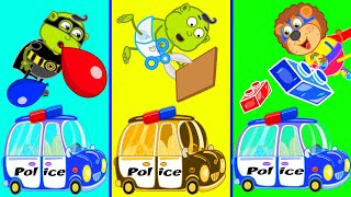 Lion Family 🍒 Makes DIY Police Car Toy from Lego, Balloons and Cardboard | Cartoon for Kids