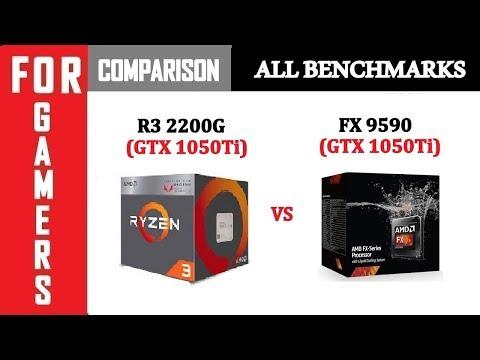 GTX 1050Ti   (OC) FX 9590 vs (OC) R3 2200G   Comparison  