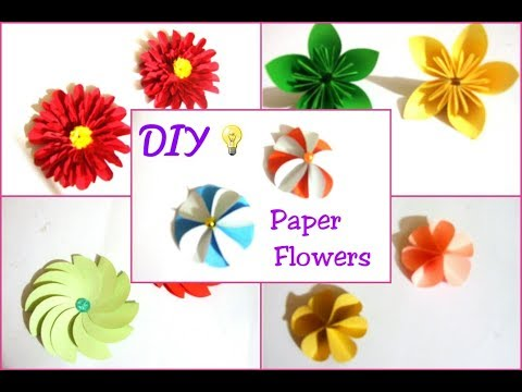 5 DIY Paper Flowers-How to make 5 beautiful Paper Flowers at home-DIY Craft Queen