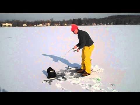 Ice Fishing Saratoga Lake-David Gonzalez Catches A  Nice Fish